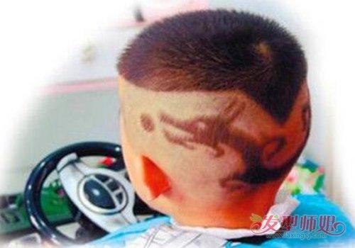 小孩头发做刻痕发型剃心形是基础 能剃好男童桃心发型图片
