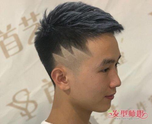 男生发型 男生短发 >> 潮男梳刻痕短发图案不必太花哨 几条杠组合在一图片