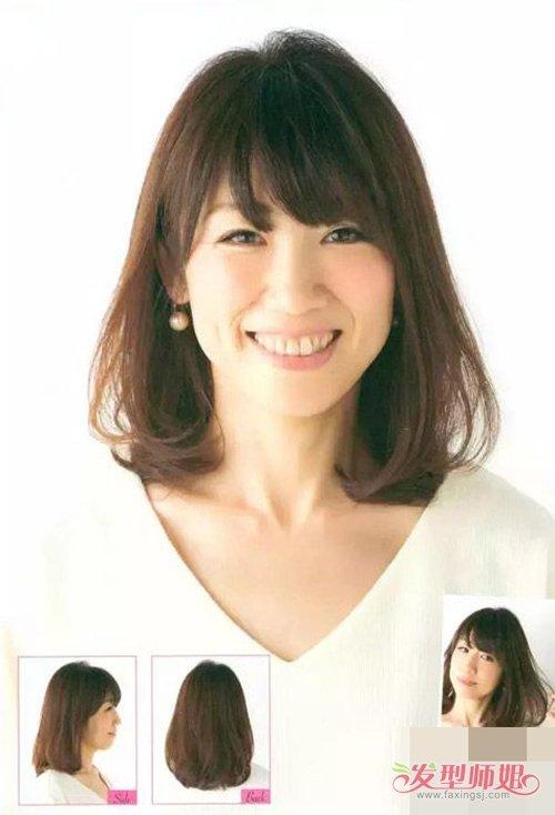 女生中短内扣头发剪齐刘海发型