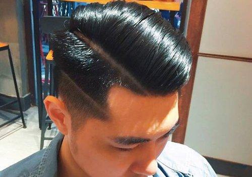 男士发型图片  短发做定位 烫发型,鬓角的头发做出超短发之后,才将
