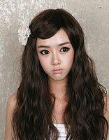 宽额头长脸烫发发型图片女中长发