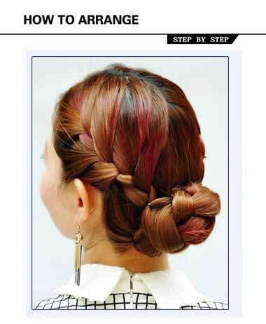 两边头发麻花辫再绕起来 头发编发两个麻花辫