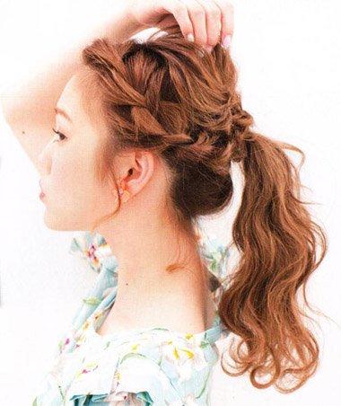 学生扎一个小辫的发型 刘海编辫子发型扎法图解