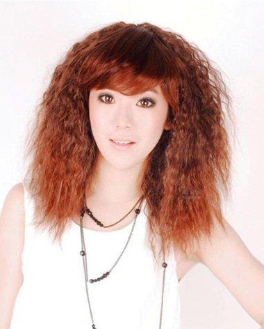 棕色头发玉米烫图片 女生长发玉米烫效果图