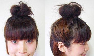 超短发女生扎丸子头 短发丸子头扎辫子法