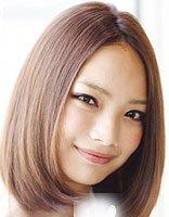 圆脸中分直发发型图片 中分圆脸直发短发发型