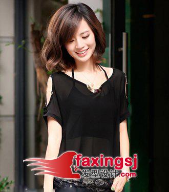 斜   刘海   发型设计   很有立体感,优雅大方气质的短发发型,高清图片