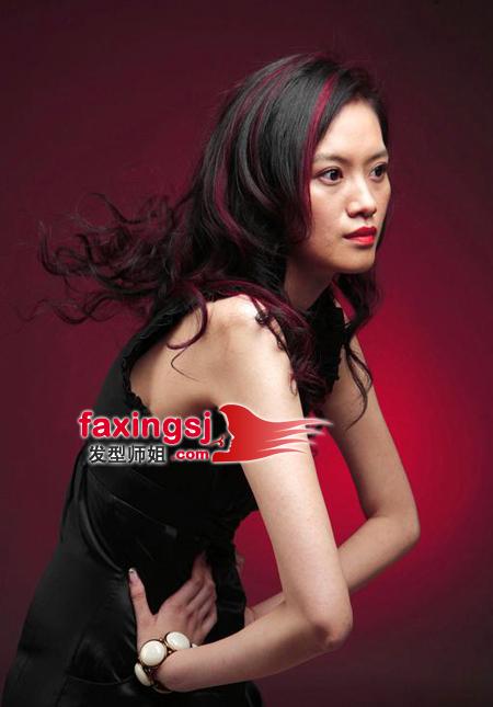 深红少女2_长发女生挑染设计 最炫少女挑染系列(2)_发型师姐