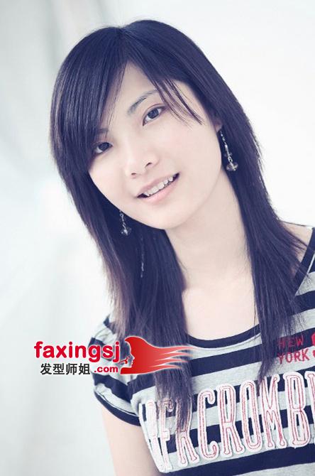 b>直发女生斜刘海 三七分刘海发型设计 /b>图片
