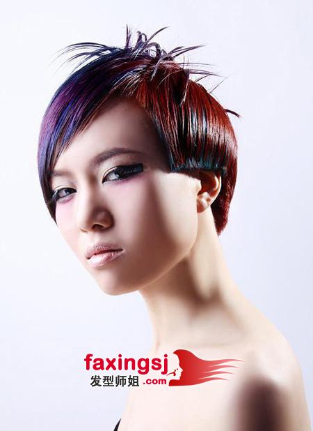 中性发型设计_中性女生齐耳短发设计 短发染发发型图片(2)_发型师姐