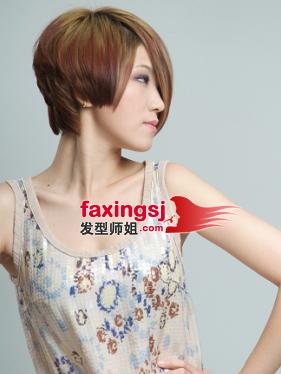 <b>中性女生齐耳短发设计 短发染发发型图片</b>