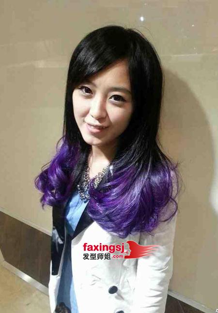 头发挑染蓝色加紫色图片分享_效果图大全