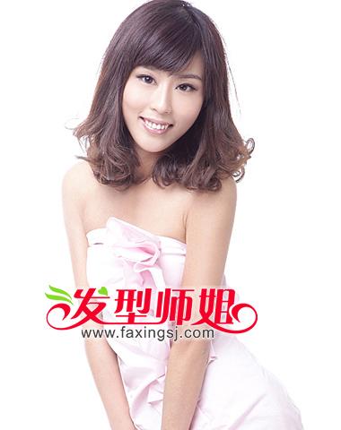斜刘海女生梨花头发型集锦