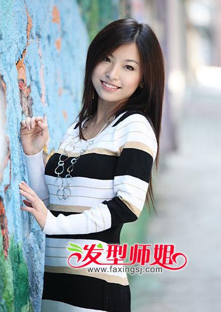 <b>淑女气质范中分刘海长直发造型欣赏</b>