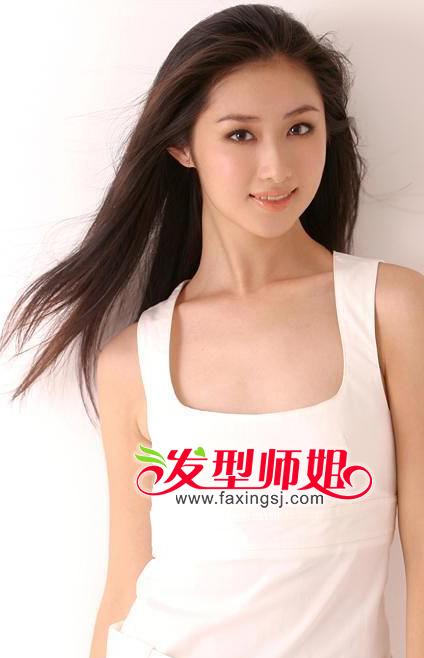 长发无刘海直发型 黑直长发无刘海发型 直刘海可爱中长发-无刘海黑