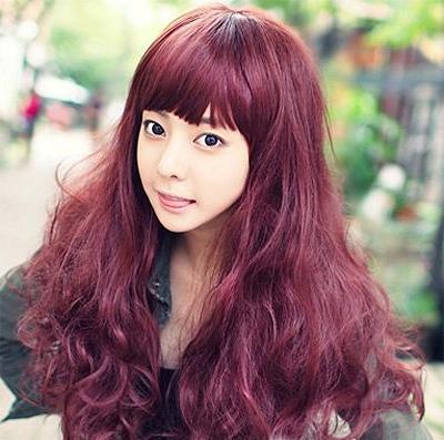 黑色头发挑染紫色发尾挑染粉紫色头发女生挑染紫图片