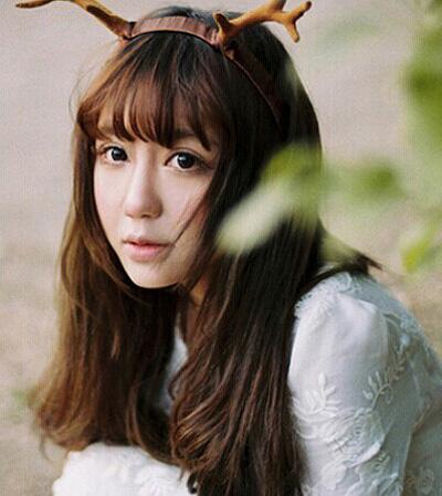齐刘海长发发型图片