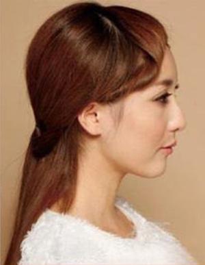 大脸美眉长发直发扎法图解 大脸直长发扎法步骤