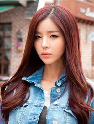 长发中分女生流行染什么颜色的发型 韩式中长发染发发型图片