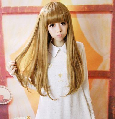 2015流行亚麻色发型 亚麻色长齐刘海发型图片