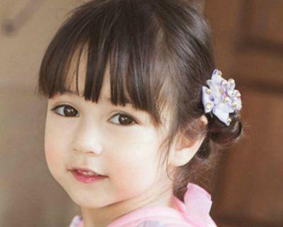 齐刘海小朋友扎头发可爱图片 小孩齐刘海扎头发发型图片