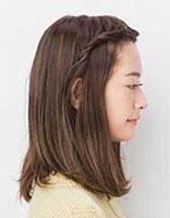 25岁女人直发中长发直刘海怎么扎头 把刘海扎上去的发型图解