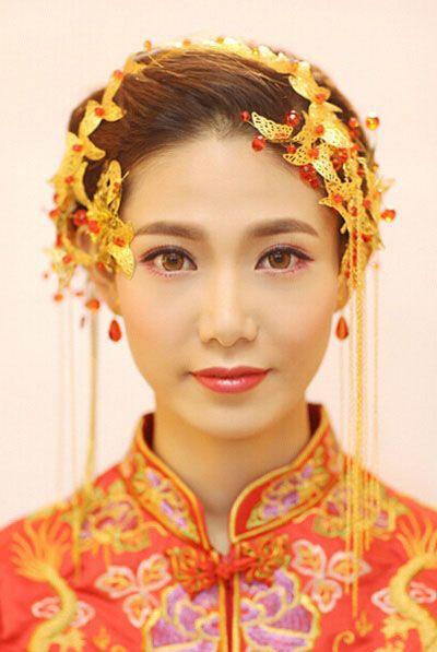 古装新娘盘头发图解 优雅古典盘头发