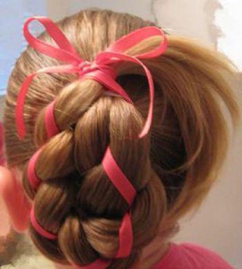 幼儿彩色丝带夹编编发型绑扎方法 小女孩扎发发型图解