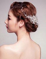 长发盘头新娘头型图片 中长发新娘盘发