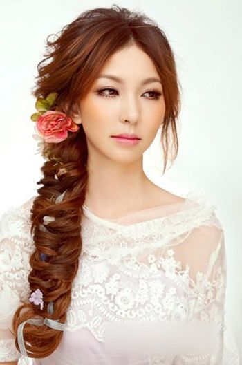 新娘编发长发发型步骤 有头帘新娘编发型韩式