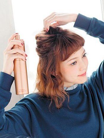 中长直发怎么把头发卷起来 长发上面直下面卷图片