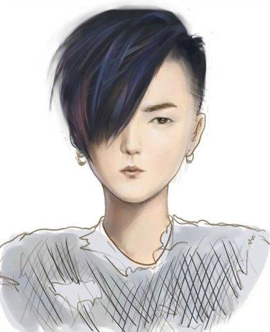 瓜子脸有点自来卷的头发剪斜庞克发型好看吗 适合瓜子脸最新卷发发型