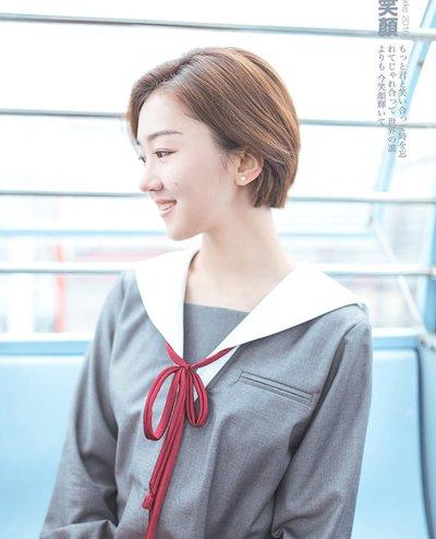 青春少女短发发型 韩国少女中短中分发型