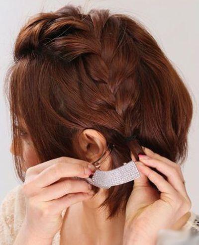 自己编短发辫子发型图解 扎辫子发型步骤图片