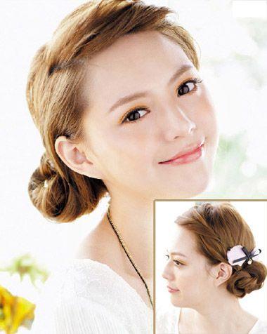 韩式发型盘发 最新韩式小女生盘发发型图片