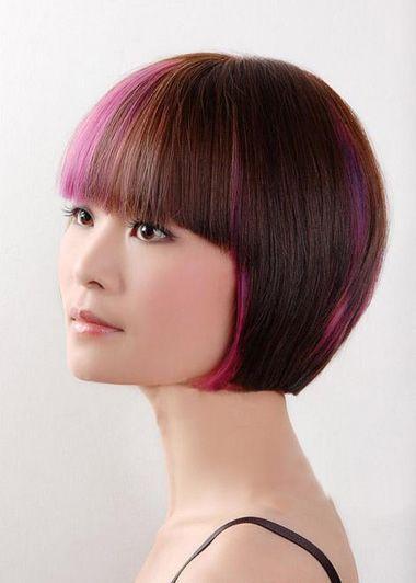 沙宣短发离子烫发型 女士沙宣短发直发型图片