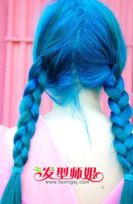绚丽发型_蓝色,很绚丽的染发_染发_发型师姐