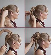 用鱼尾麻花辫发髻来增强发型的纹理