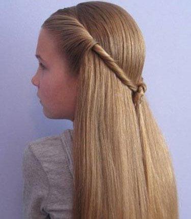 教9岁长发直发小女孩美丽头型解图 活泼小女孩公主头长发扎发