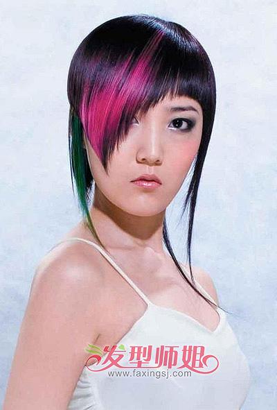 头发金丝图片欣赏_直发挑染发色 短发挑染发型图片_发型师姐