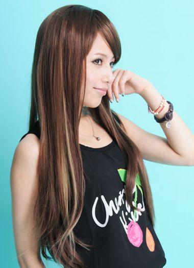 直发发型颜色挑染 挑染一种颜色的直发发型图片