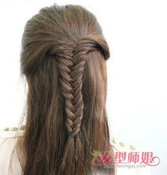 花式编发盘发教程_鱼骨辫发型扎法图解 鱼骨辫子发型扎法(3)_发型师姐