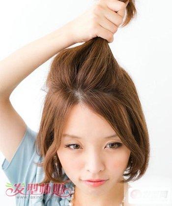 方脸短发夏天怎么扎头发 方圆脸短发扎头发的方法图解-轻博客