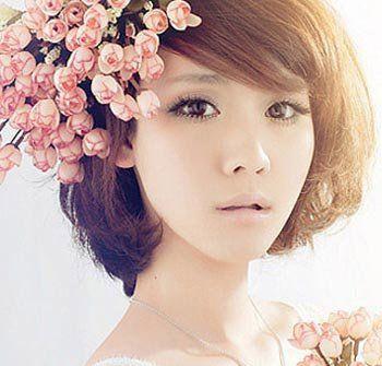 中短发新娘发型视频_中短发新娘盘发发型 短头发新娘带红头花盘发型图片_发型师姐