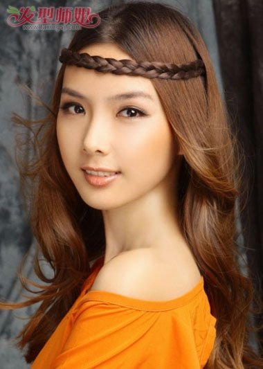 无刘海长发怎么带发箍 无刘海发箍的戴法