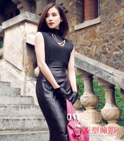 刘诗诗袁珊珊短发搭皮衣很帅气 女明星皮衣短发发型