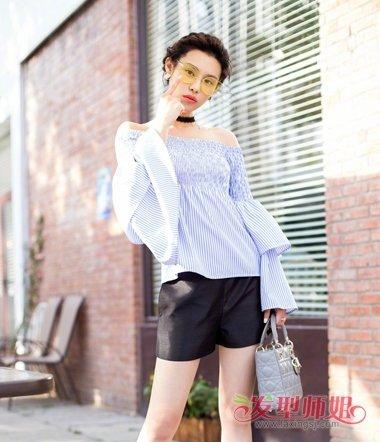 韩丹彤扎马尾的写真 雪纺裙让造型更美
