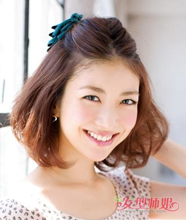 韩国个性短发的扎发 中短发女生有个性