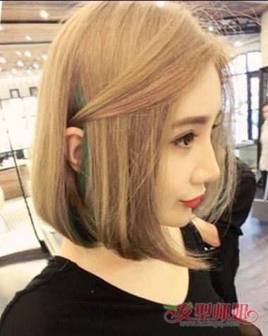 2018短发女生隐藏挑染发型 女生短发隐藏色染发发型图片