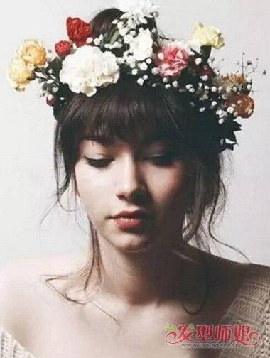 新娘戴花圈扎发类型聚集 脸型短女生盘发大全图片